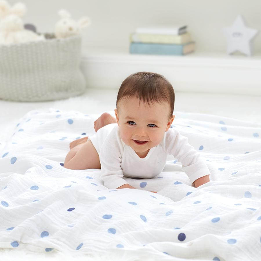 swaddle-muslin-baby-crawl-blue-dots