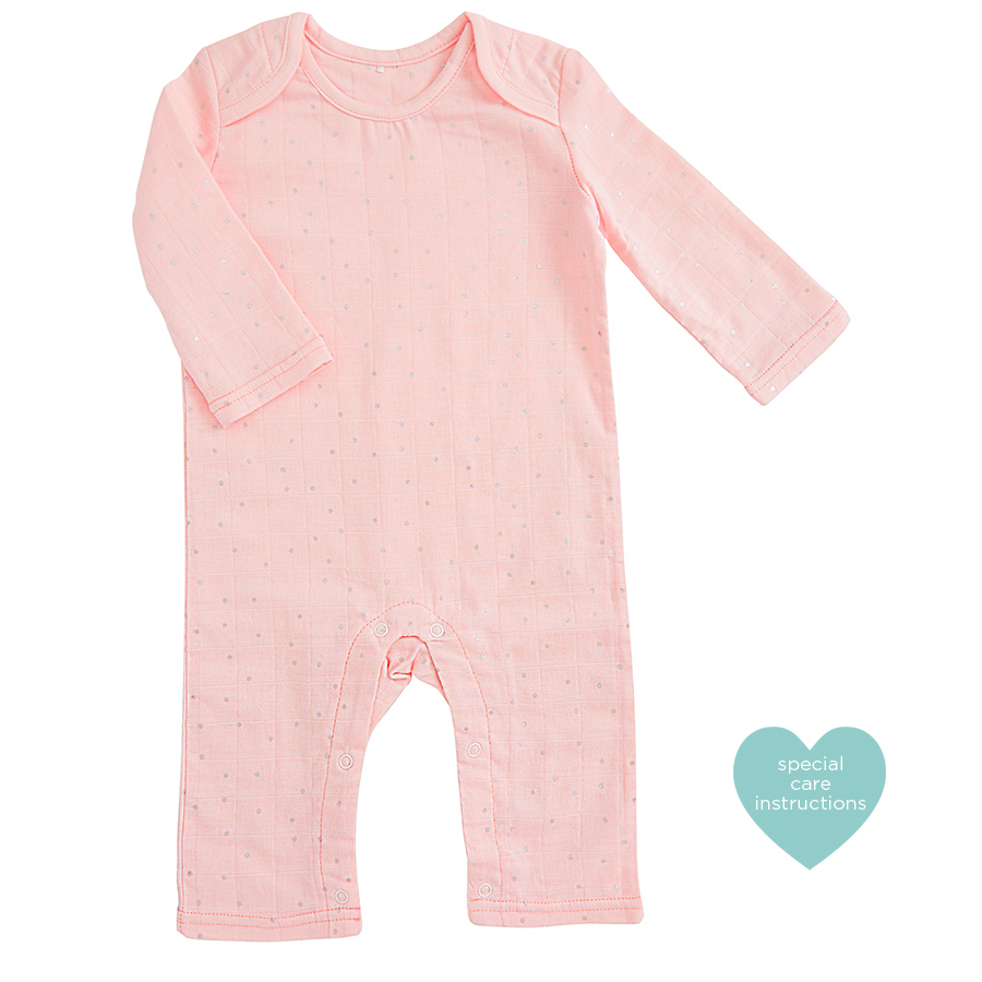 muslin-baby-clothing-pink-silver-dot-long-coverall