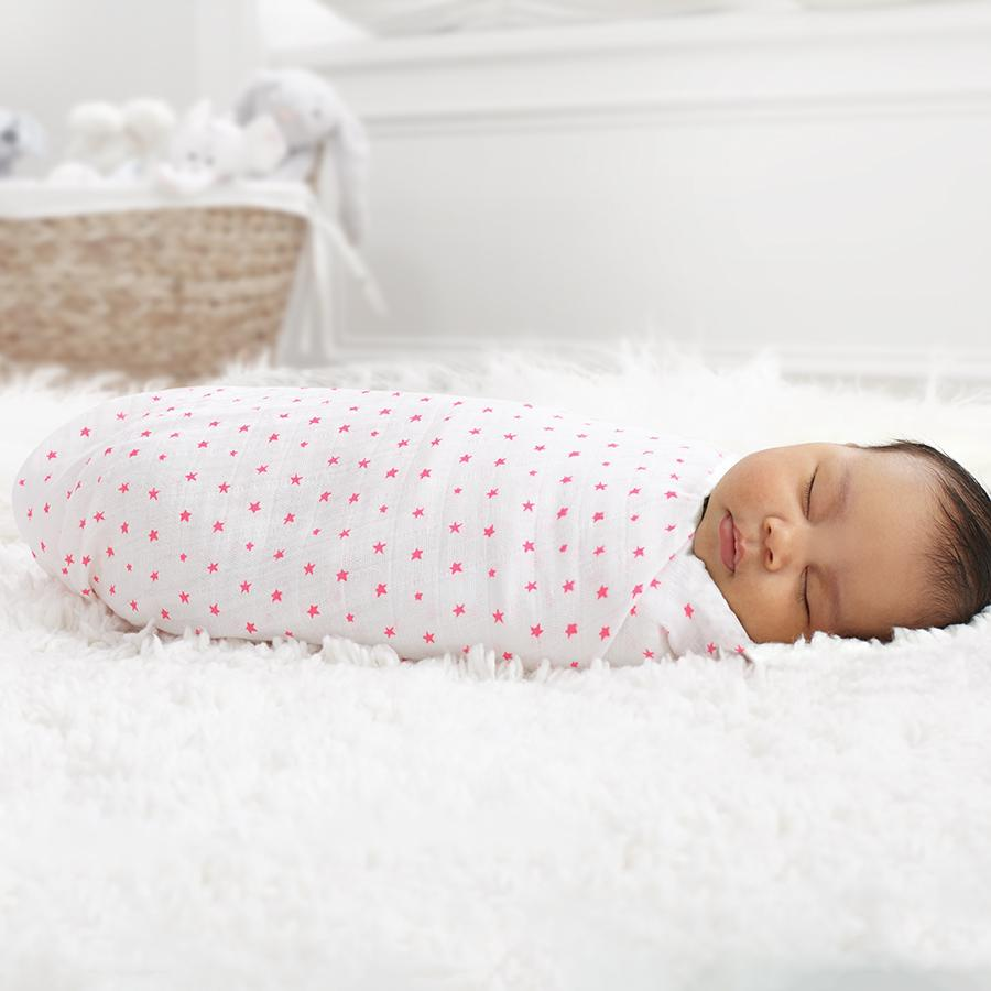swaddle-muslin-baby-sleep-pink-stars