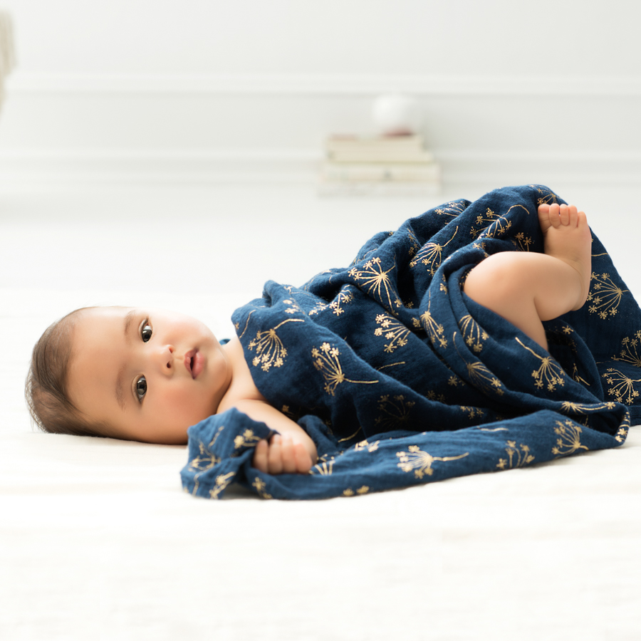 swaddle-muslin-baby-sleep-metallic-gold-navy