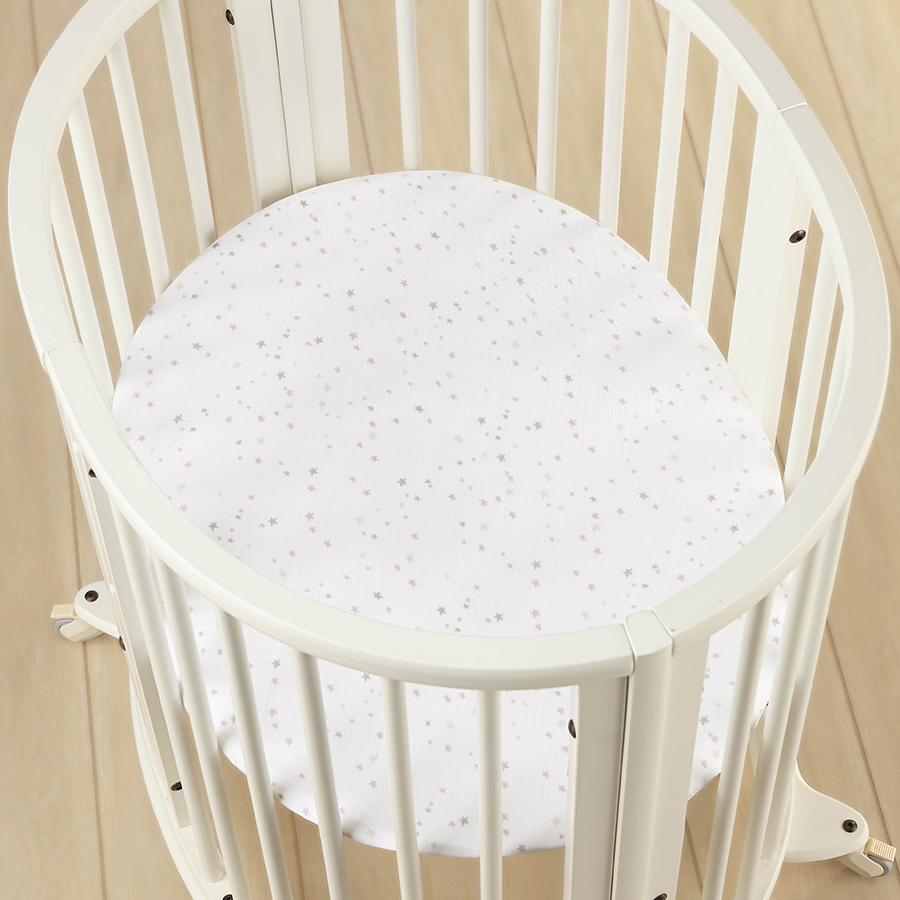 crib-sheet-stokke-muslin-mini-pink