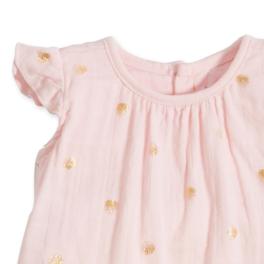 flutter-sleeve-top-pink-gold-dot