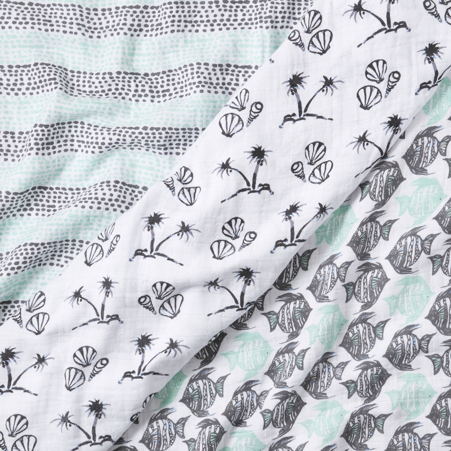 muslin-swaddle-blanket-grey-aqua-shells-fish-dots