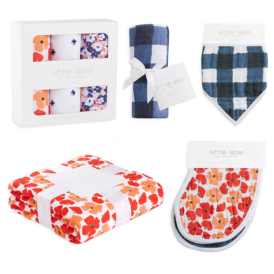 muslin-burp-cloth-red-orange-flowers-blue-gingham