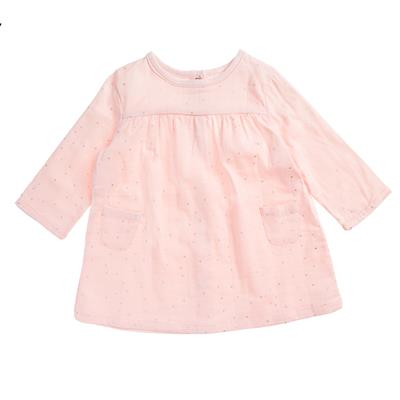 muslin-baby-clothing-pink-long-pocket-dress-front