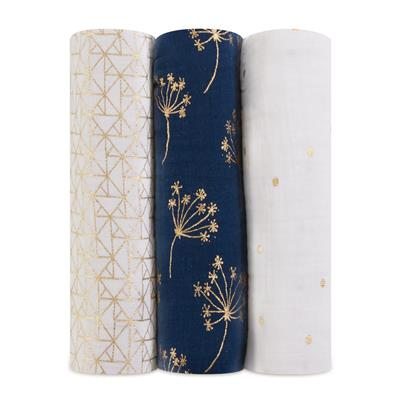muslin-swaddles-metallic-gold-navy-white