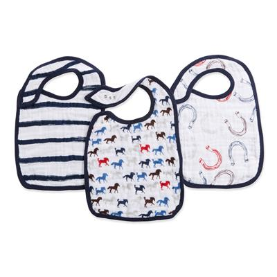 bibs-muslin-snap-stripes-horses-navy-red