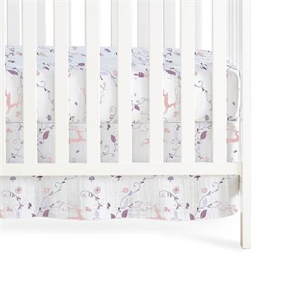 crib-skirt-organic-muslin-purple-pink-deer