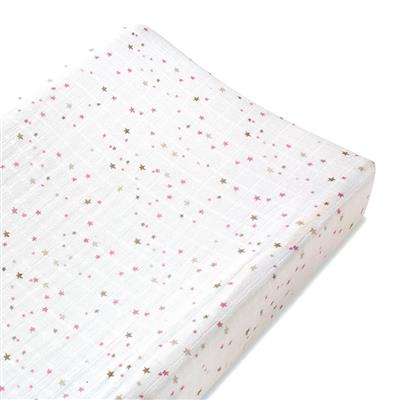 changing-pad-cover-muslin-pink-star