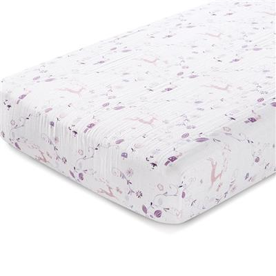 crib-sheet-organic-muslin-purple-pink-deer