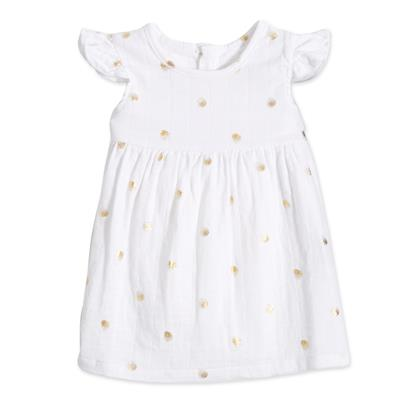 flutter-sleeve-yoke-dress-gold-dot