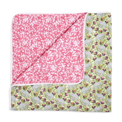 muslin-baby-blanket-pink-flowers-green-grey-elephants