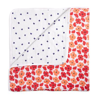 muslin-baby-blanket-red-orange-blue-flowers