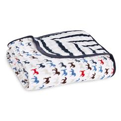 baby-blanket-muslin-navy-blue-horses-stripes