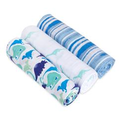 muslin-swaddle-blanket-blue-green-stripe-dinosaur