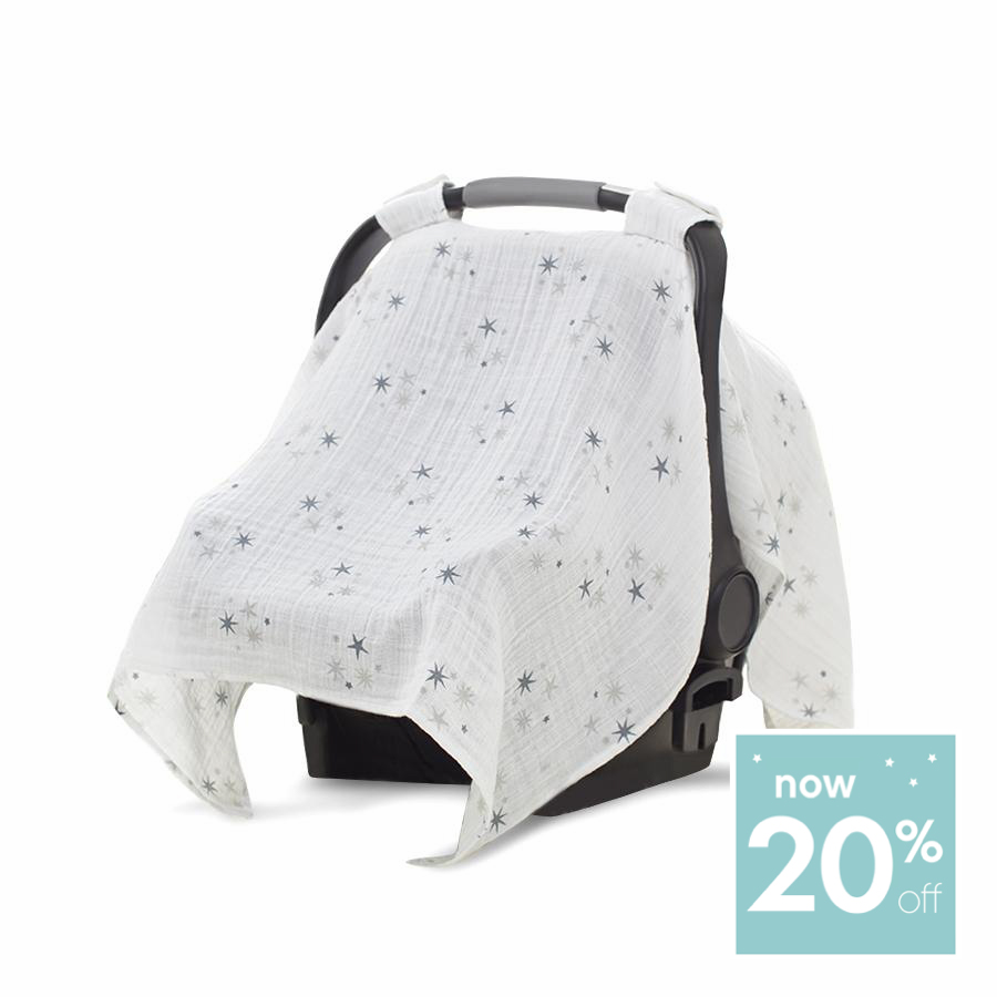 Car Seat Canopy Muslin Grey Star Twinkle