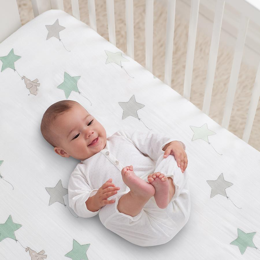classic crib sheet up up away muslin crib sheets aden anais