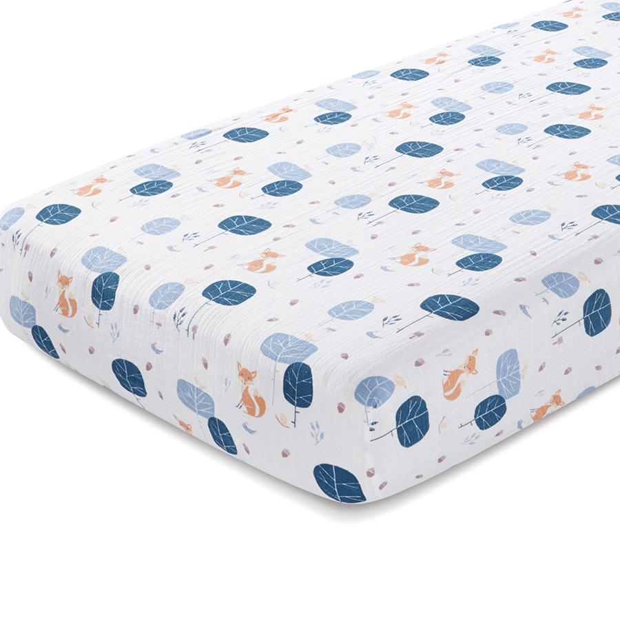 crib-sheet-organic-muslin-fox-woods - Organic Crib Sheet Into The Woods Muslin Crib Sheets Aden +