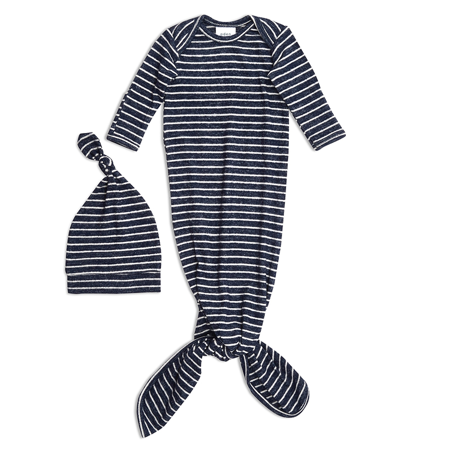 Newborn Baby Knotted Gown 2-Piece Set Navy w//Gray Stripe Hat Made in USA Soft Modal or French Terry